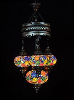 Turkse kroonluchter mozaïek multicolour mix 4 bollen - Turkse Lampen Online