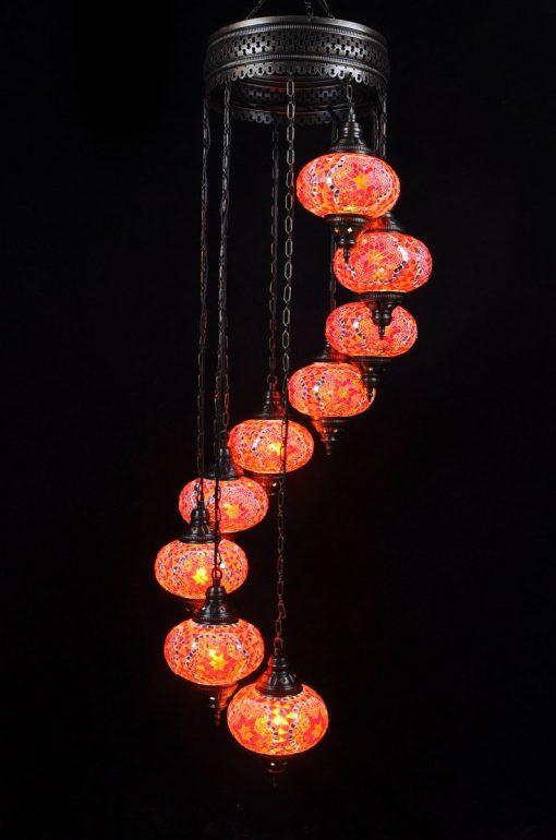 Oosterse mozaïek lamp oranje 9 bollen - Turkse Lampen Online