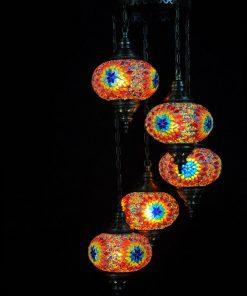 Oosterse mozaïek lamp 5 bollen - Turkse Lampen Online
