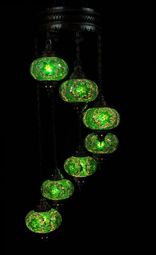 Oosterse mozaïek lamp groen 7 bollen - Turkse Lampen Online