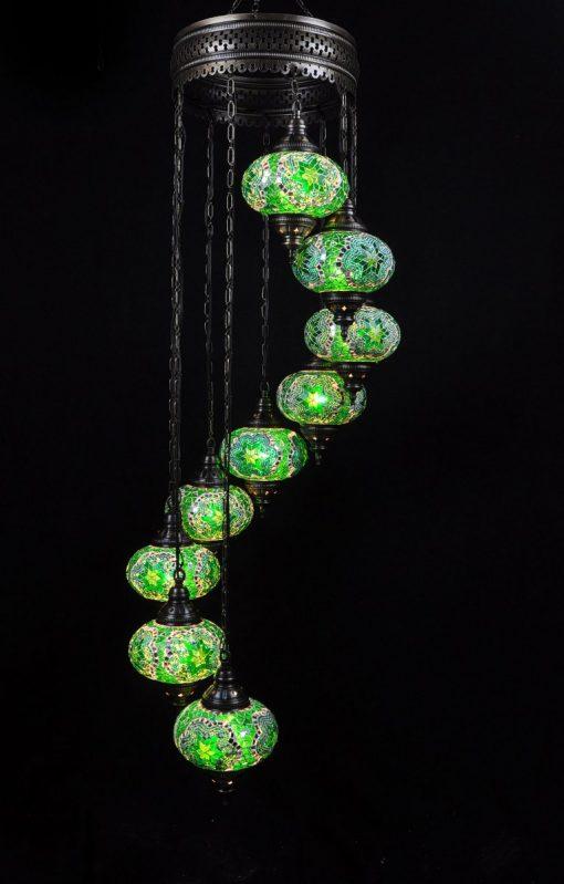 Oosterse mozaïek lamp groen 9 bollen - Turkse Lampen Online
