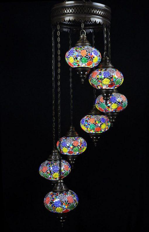 Oosterse mozaïek lamp multicolour 7 bollen - Turkse Lampen Online