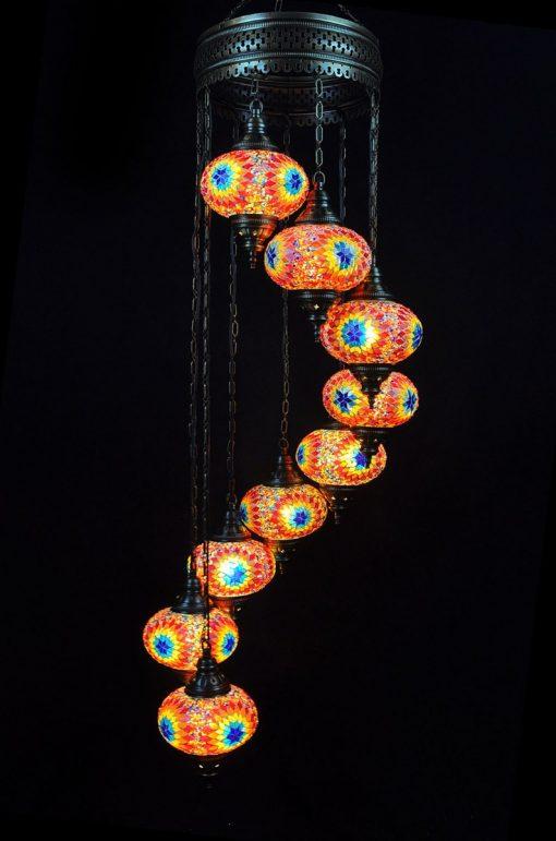 Oosterse mozaïek lamp multicolour 9 bollen - Turkse Lampen Online