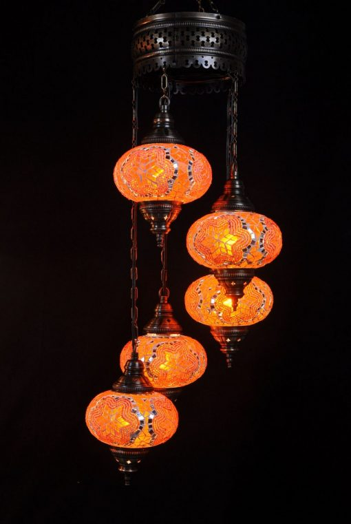 Oosterse mozaïek lamp oranje 5 bollen - Turkse Lampen Online