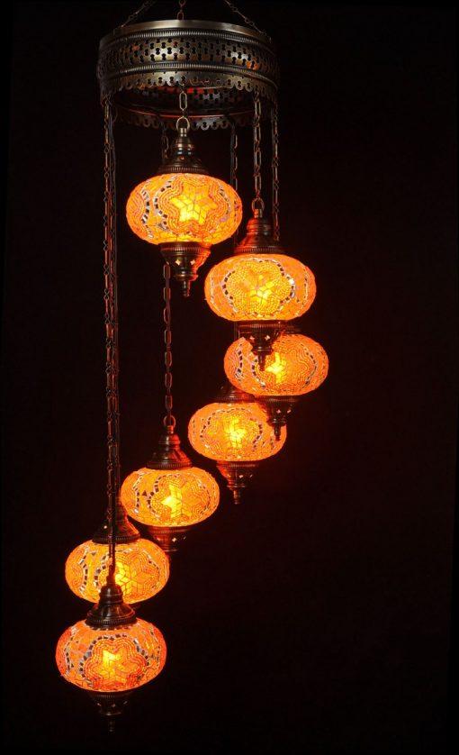 Oosterse mozaïek lamp oranje 7 bollen - Turkse Lampen Online