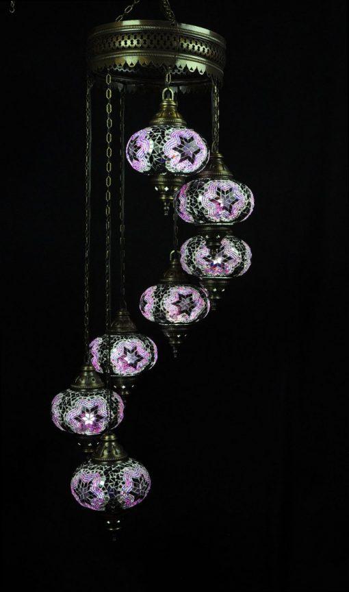 Oosterse mozaïek lamp paars 7 bollen - Turkse Lampen Online