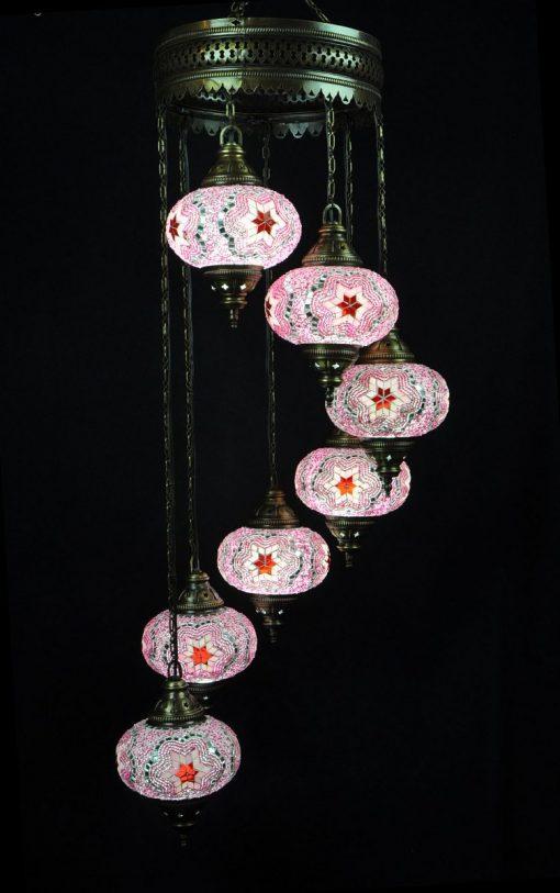 Oosterse mozaïek lamp roze 7 bollen - Turkse Lampen Online