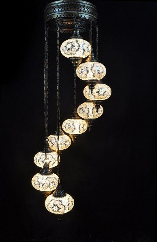 Oosterse mozaïek lamp wit 9 bollen - Turkse Lampen Online