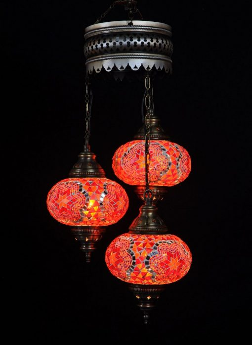 Turkse kroonluchter mozaïek rood 3 bollen – Turkse lampen